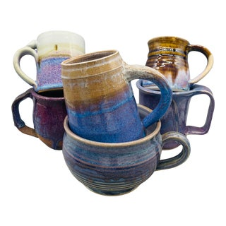 1980s Mismatched Studio Pottery Coffee Cups - Set of 6 For Sale