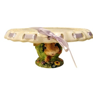 Ceramic Large Basket Weave Rabbit in a Cabbage Patch Cake Plate Holder For Sale