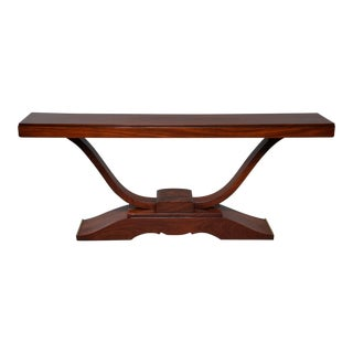 1930s Large French Art Deco Mahogany Console For Sale