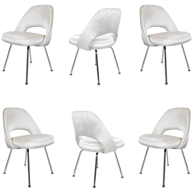 Saarinen Executive Armless Velvet Chairs - S/6 - Image 1 of 10