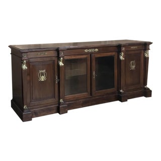 19th Century French Empire Mahogany Credenza With Bronze Ormolu For Sale