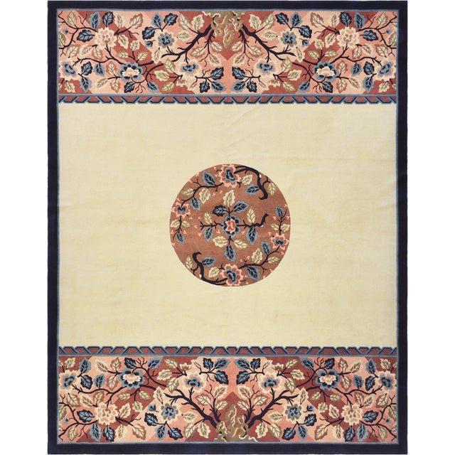 This genuine handwoven rug from China features a very unique design and brilliant color combination. 100% fine naturl wool...
