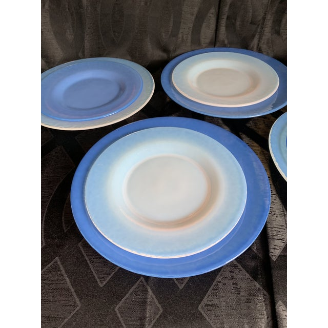 Cenedese Italian Murano Blue Translucent Opalescent Plate Settings - Set of 8 For Sale In Chicago - Image 6 of 11