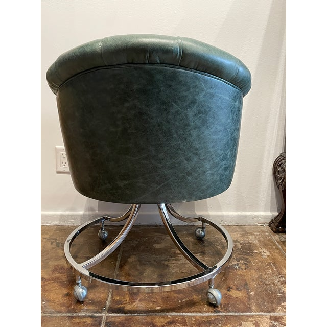 1970s 1970s Leather Channel Tufted and Chrome Desk Chair For Sale - Image 5 of 8