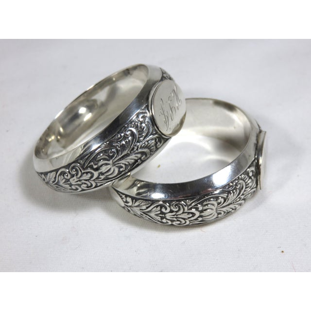 Antique Handmade American coin silver husband and wife wedding napkin rings. Engraved with his & her monograms. No maker...