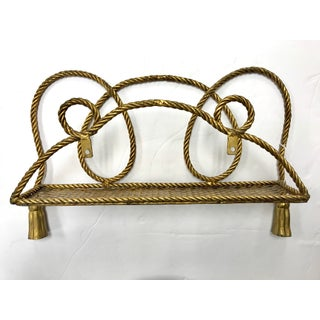 Hollywood Regency Brass Rope and Tassel Shelf Wall Bracket Preview