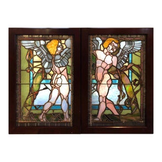 Antique Stained Glass Windows of Angels - A Pair