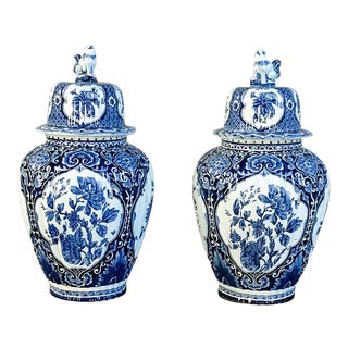 Pair 19th Century Delfts Blue and White Lidded Vases For Sale