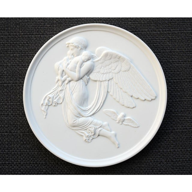 Neoclassical Danish Bing & Grondahl Bisque Porcelain Relief Angel Wall Plaques - a Pair For Sale - Image 3 of 7