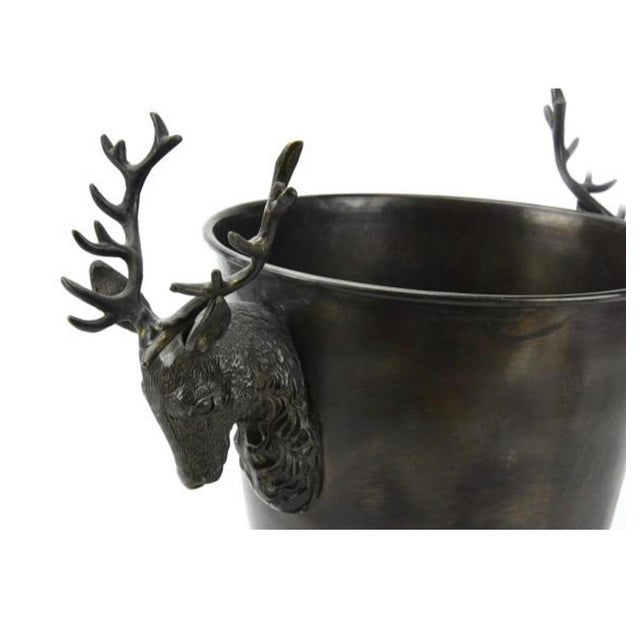 English 1990s Bronze Stag Horn/Deer Head Champagne Wine Bucket For Sale - Image 3 of 6