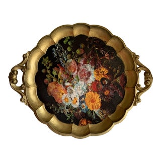 Midcentury Florentine Floral Scalloped Tray For Sale