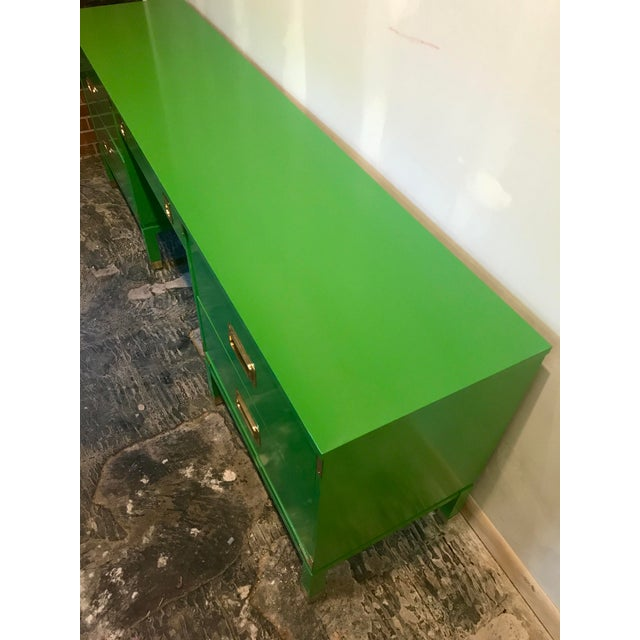 Green Green Lacquered Campaign Desk For Sale - Image 8 of 9