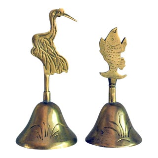 Vintage Chinese Brass Stork and Fish Bells - a Pair