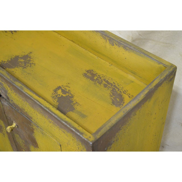 Primitive Distressed Painted Country Small Dry Sink Cabinet For Sale - Image 5 of 11