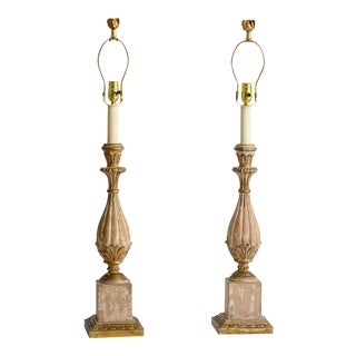 Italian Hand Carved Wood Painted Table Lamps, A-Pair For Sale