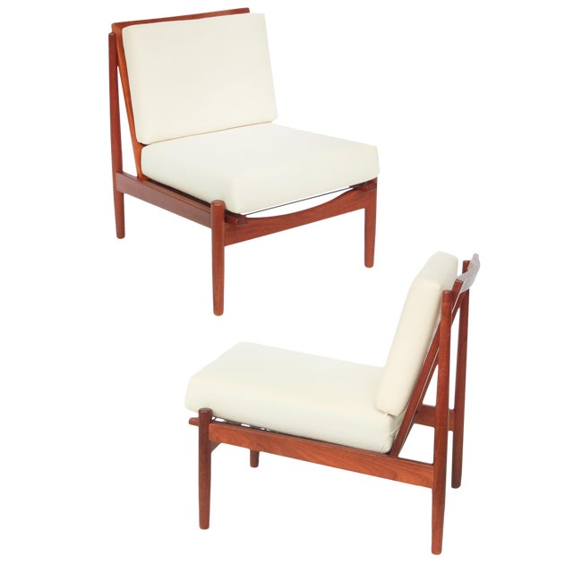 Mid-Century Danish Modern Slipper Chairs - a Pair For Sale