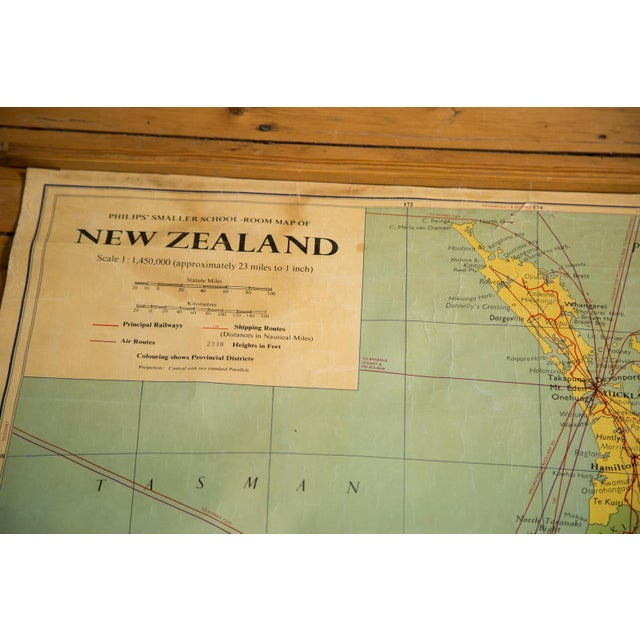 1960s Vintage New Zealand Pull Down Map - Image 4 of 8