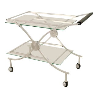 American Art Moderne 1930s-1940s Aluminum Bar Cart For Sale
