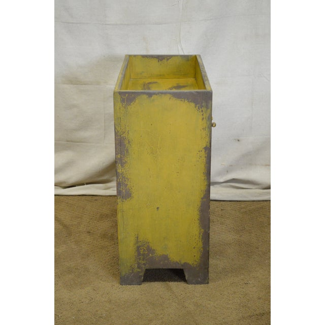 Yellow Primitive Distressed Painted Country Small Dry Sink Cabinet For Sale - Image 8 of 11