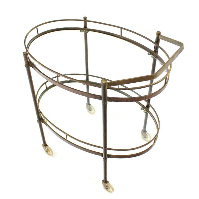 Oval Two-Tier Brass Tea Cart or Serving Table For Sale In New York - Image 6 of 6