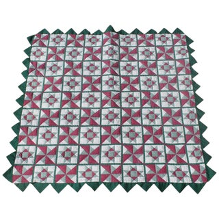 Antique Crib Quilt With Saw Tooth Edge For Sale