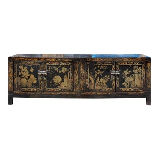 Chinese Oriental Distressed Flower Black Low Tv Console Cabinet For Sale