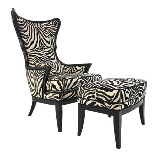Currey & Co. Modern Black and White Cut Velvet Zebra Chair and Ottoman Set - a Pair For Sale