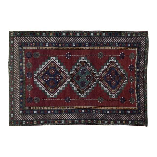 Antique Caucasian Kazak Hand Knotted Rug- 5′9″ × 8′5″ For Sale