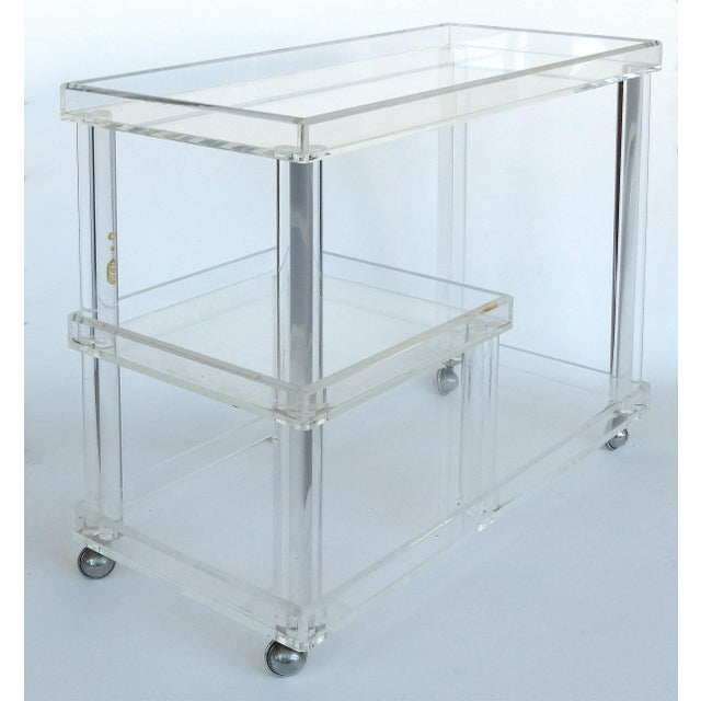 Rolling Lucite Bar Cart W/ 3 Levels of Storage For Sale - Image 4 of 12