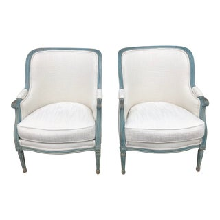 Late 20th Century Vintage Bergere Arm Chairs- A Pair For Sale