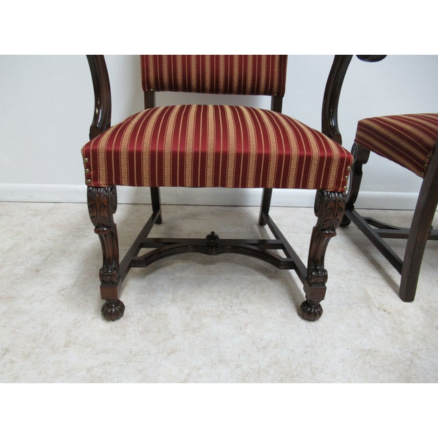 Brown Antique Berkey Gay French Empire Walnut Dining Room Arm Chairs - Set of 6 For Sale - Image 8 of 12