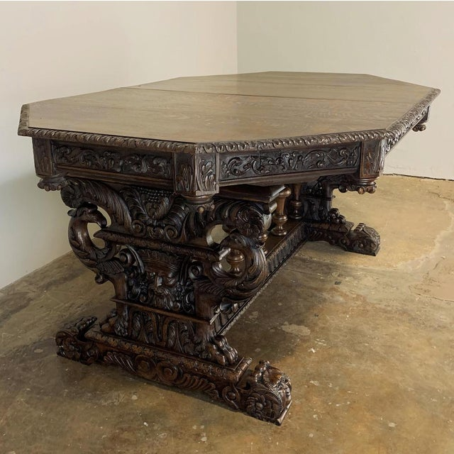 19th Century French Renaissance Octagonal Library Table For Sale - Image 4 of 13