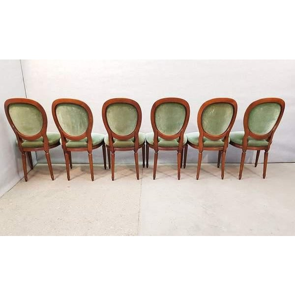 French Vintage Louis XVI Style Green Velvet Medallion Back Dining Chairs - Set of 6 For Sale - Image 10 of 13