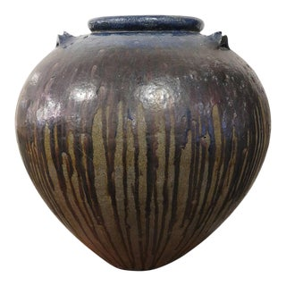 Mid 20th Century Burmese Stoneware Water Jar For Sale