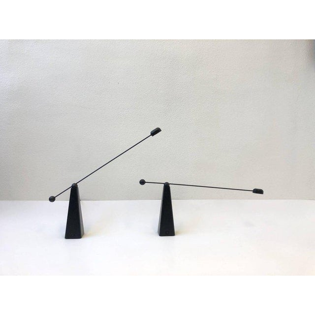 Modern Pair of Adjustable Black Lacquered Table Lamps by Ron Rezek For Sale - Image 3 of 9