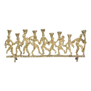 1950's Folk Art Dancing Figures Brass Menorah Candle Holder For Sale
