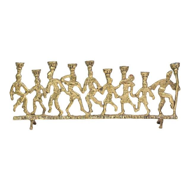 1950's Folk Art Dancing Figures Brass Menorah Candle Holder For Sale