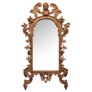 18th Century Antique Italian Gilt Carved Wood Mirror For Sale