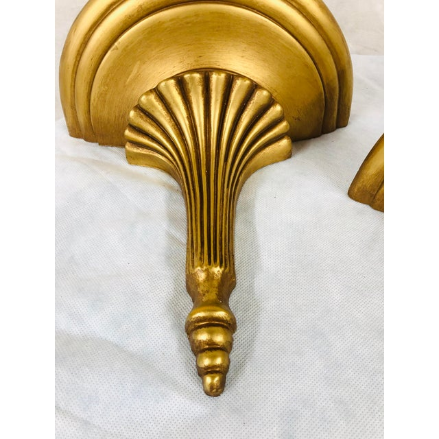 English Mid Century English Gilded Wall Brackets - a Pair For Sale - Image 3 of 11