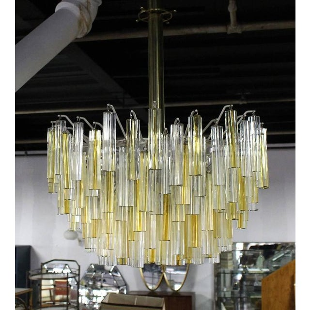 Venini Two-Tone Gold and Clear Murano Camer Light Fixture For Sale - Image 6 of 9
