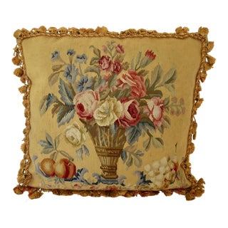 Aubusson Style Large Tapestry Decorative Pillow For Sale