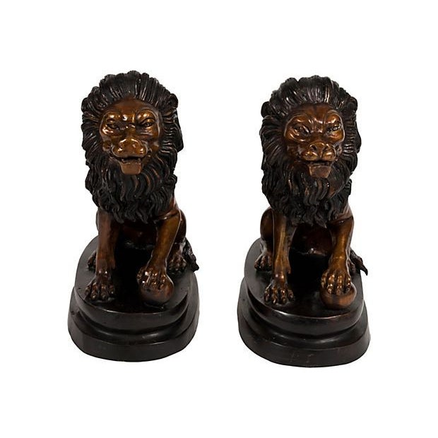 Bronze Lion Bookends - A Pair For Sale
