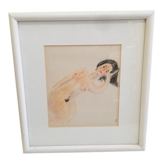 1970s Vintage Joseph Zulawski Nude Female Drawing For Sale
