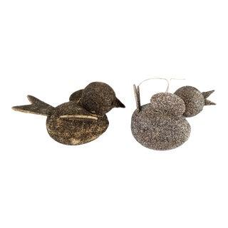 Vintage Silver Glitter Paper Mache Bird Christmas Ornament - a Pair For Sale