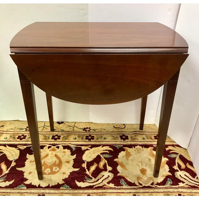 Brown 20th Century Federal Hickory Chair Mahogany Inlay Drop Leaf End Tables - a Pair For Sale - Image 8 of 10