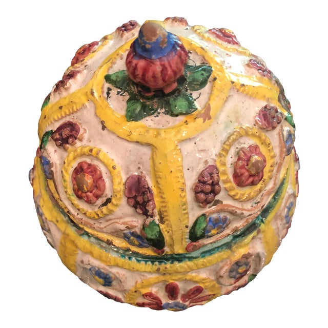 Italian Floral & Flower Motif Faience Box For Sale