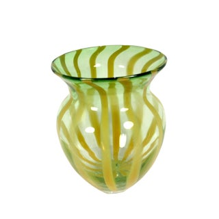 1970s Scandinavian Hand Blown Clear, Green, and Lemon Striped Glass Vase For Sale