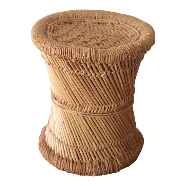 Boho Rattan Side Table with Woven Rope - Image 1 of 5
