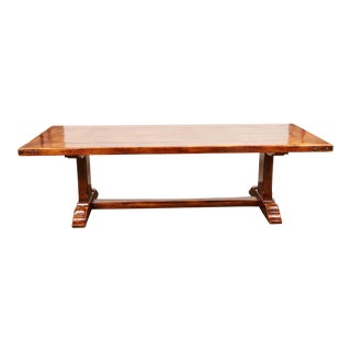 20th Century French Walnut Trestle Dining Table For Sale
