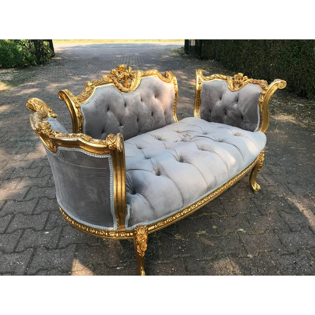 Gold Leaf French Louis XVI Style Gray Settee For Sale - Image 7 of 8